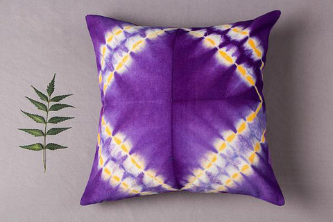 Indigo Shibori Tie-Dye Cotton Cushion Cover (16in x 16in)