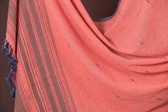 Organic Kala Cotton Handwoven Buti Dupatta with Tassels from Kachchh