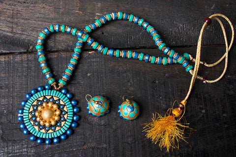 Bishnupur Handpainted Terracotta Necklace Set