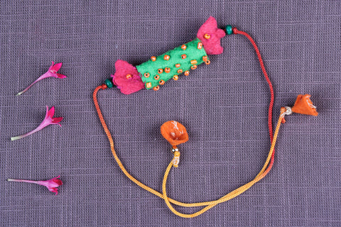 Hand Embroidered & Felt Work Kids Bead Work Candy Rakhi