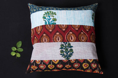 Handmade Patchwork Cotton Cushion Cover (16 x 16 inches)