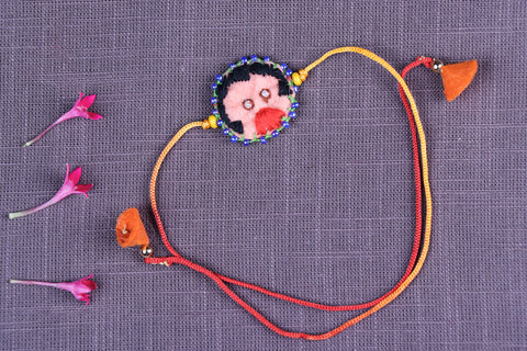 Hand Embroidered & Felt Work Kids Bead Work Mask Boy Rakhi