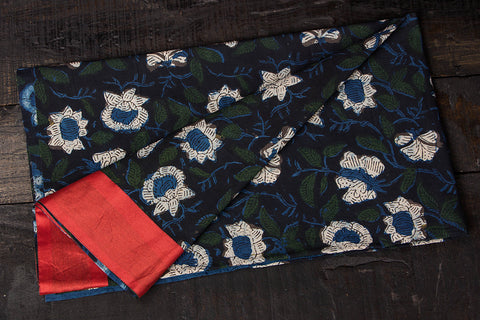 Rangoli Cotton Blouse Material with Chanderi Border by Jalpari