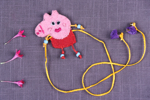 Hand Embroidered & Felt Work Kids Bead Work Peppa Pig Rakhi