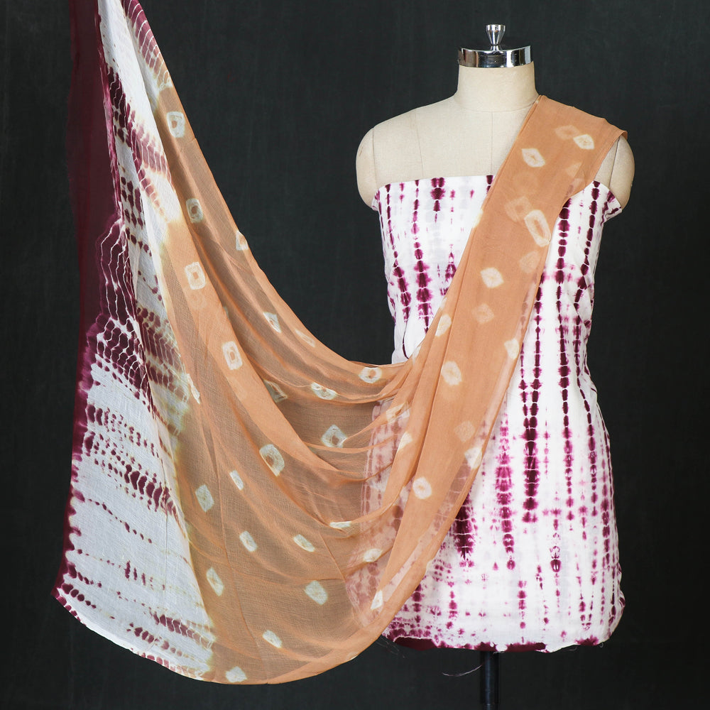 Shibori Tie-Dye Cotton 3pc Suit Material Set with Chiffon Dupatta