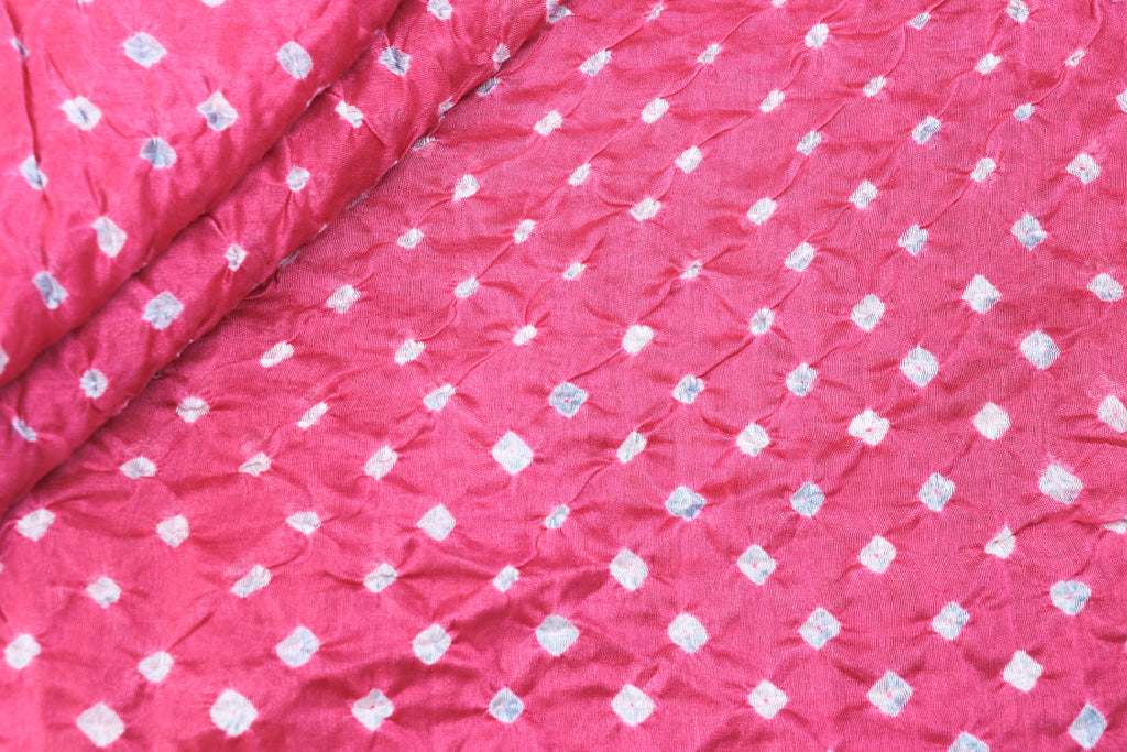 Special Handloom Chanderi Silk Kutch Bandhani Tie-Dyed Fabric
