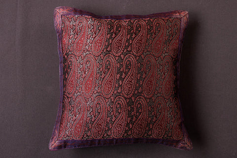 Traditional Pure Banarasi Handwoven Silk Zari Cushion Cover (12in x 12in)