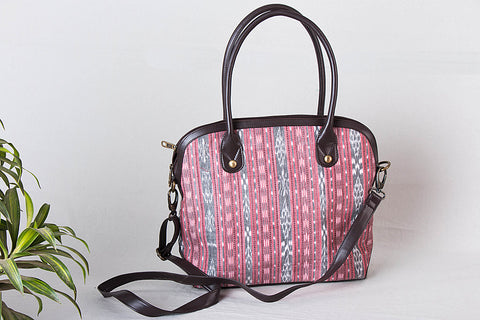 Darjee Handcrafted Woven Ikat Shoulder Bag in Faux Leather