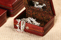 Handcrafted Kutch Leather Jewellery Box with Mirror - Small