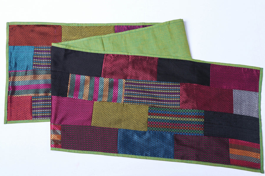 Pure Handloom Khun Patchwork Cotton Table Runner