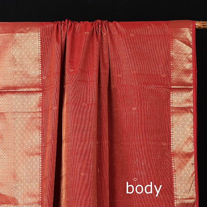 Traditional Tissue Chanderi Silk Heavy Zari Border Handloom Saree by Rauph Khan