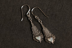 Natural Stone Embelished Sterling Silver Earring