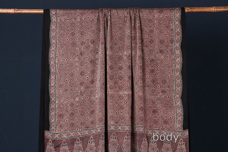 Special Ajrakh Hand Block Printed Modal Silk Natural Dyed Saree