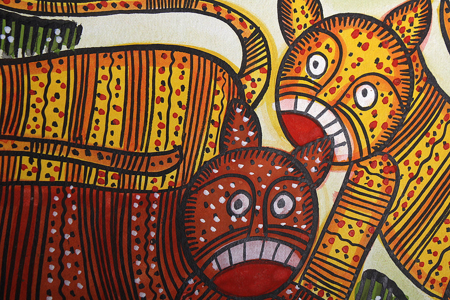 11in x 7in - Traditional Patua Painting by Laltu Chitrakar