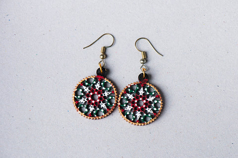 Tikuli Art Handpainted Wooden Earrings