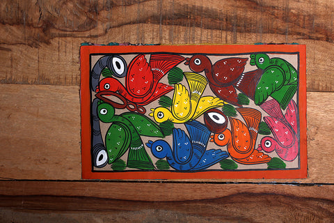 11in x 6.5in - Traditional Patua Painting by Laltu Chitrakar