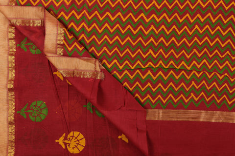 Bagru Block Prints Chanderi Silk Ghicha Border Saree