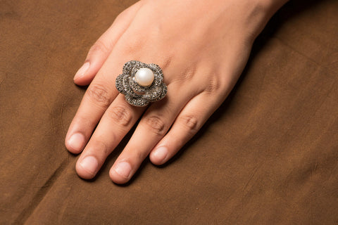 Sterling Silver Marcasite Natural Stone Ring
