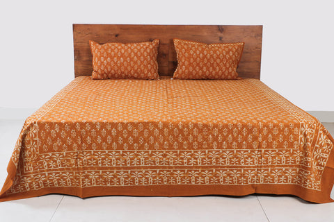 Bagru Hand Block Printed Cotton Double Bed Cover with Pillow Covers (108 in x 86 in)
