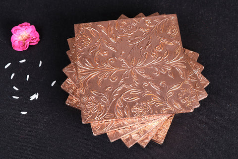 Handmade Papier Mache Metal Coated Coasters (Set of 6 )