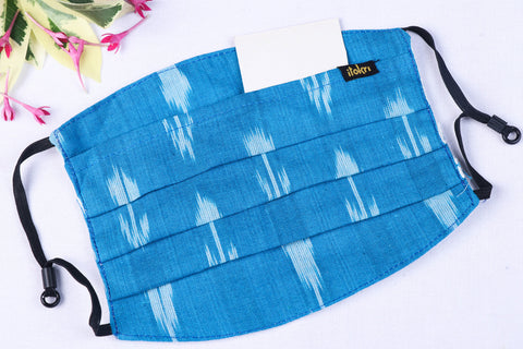 Pochampally Ikat Cotton Fabric 3 Layer Pleated Face Cover