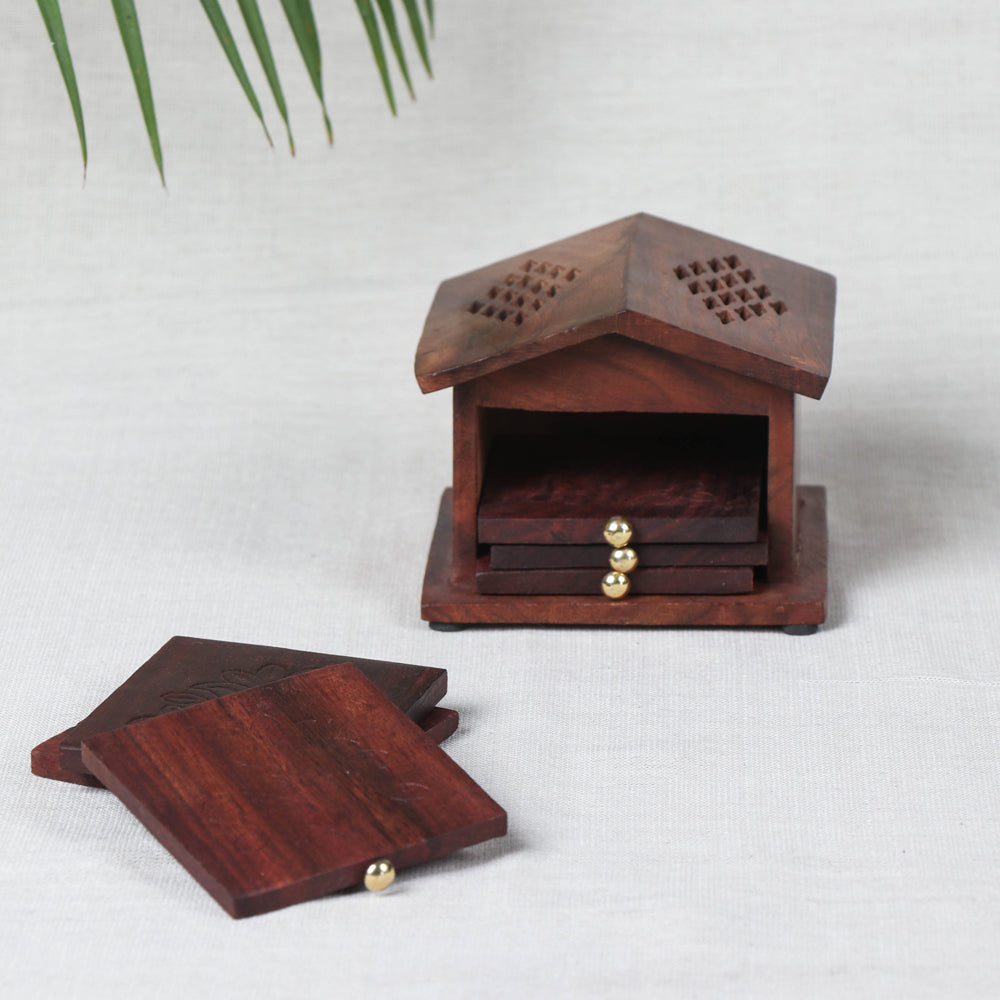 Coaster with Hut Stand (Set of 6) - Handcrafted with Sheesham Wood