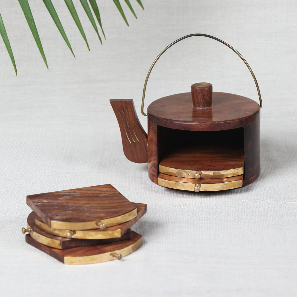 Coasters with Kettle Shape Stand (Set of 6) - Handcrafted with Sheesham Wood