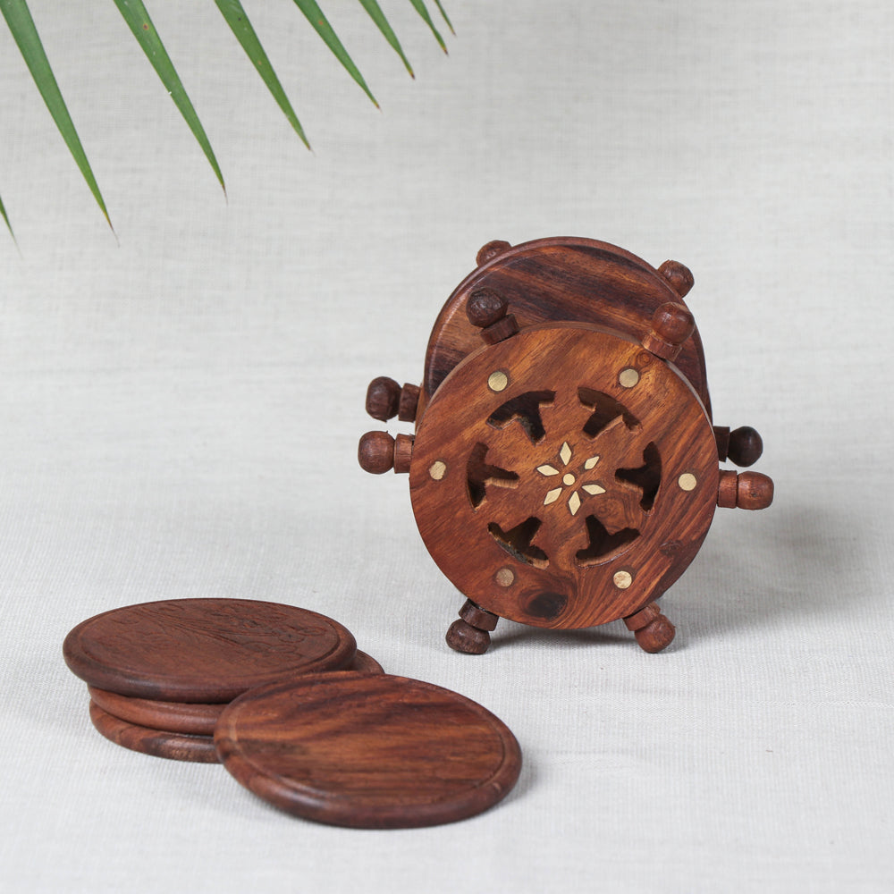 Coasters with Wheel Stand (Set of 6) - Handcrafted with Sheesham Wood