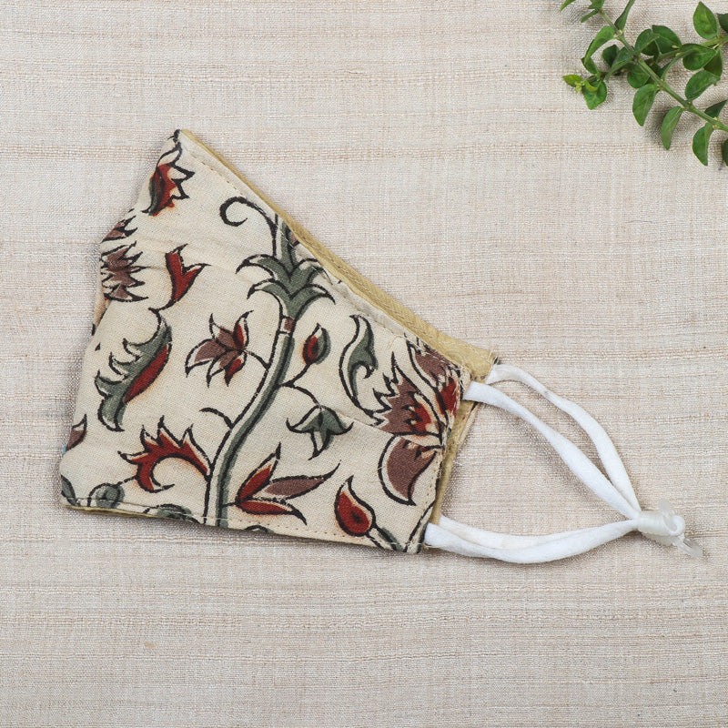 Kalamkari Block Print Cotton 3 Layer Snug Fit Face Cover