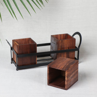 Cutlery Holder Stand - Handcrafted with Sheesham Wood & Wrought Iron Stand