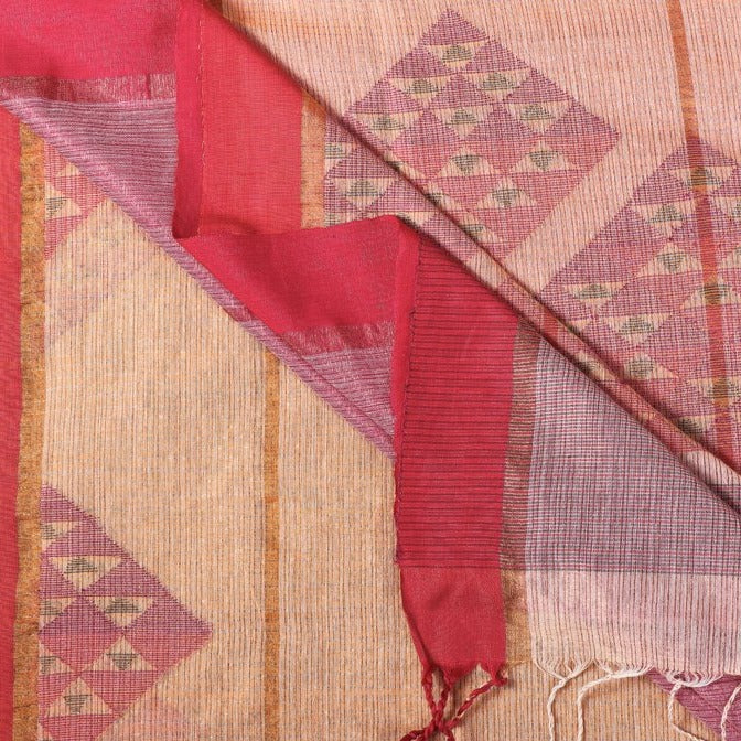 Special Jamdani Pure Handwoven Cotton Zari Weave Saree with Matka Silk Buti & Tassels from Bengal