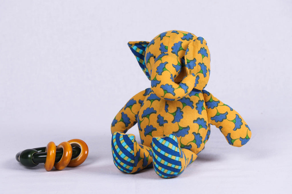 Handmade Blue Mango Stuffed Toy - Elephant Baby