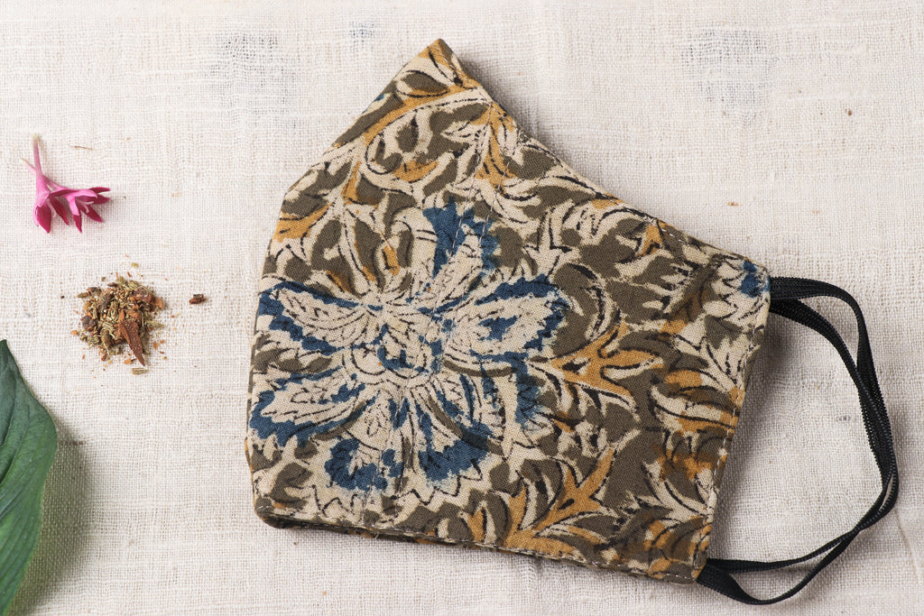 Herb Pocket Kalamkari Block Print Cotton Fabric 3 Layer Snug Fit Face Cover