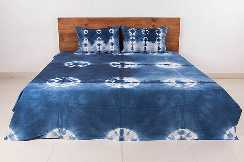 Shibori Tie-Dye Indigo Cotton Double Bed Cover with Pillow Covers