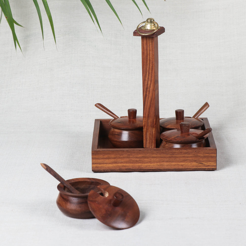 Spice Hanging Set - Handcrafted with Sheesham Wood