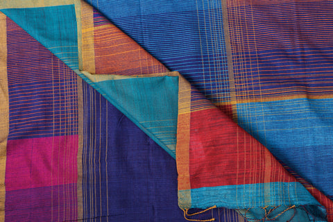 Special Jamdani Pure Handspun Handwoven Tussar Silk Saree with Tassels from Bengal