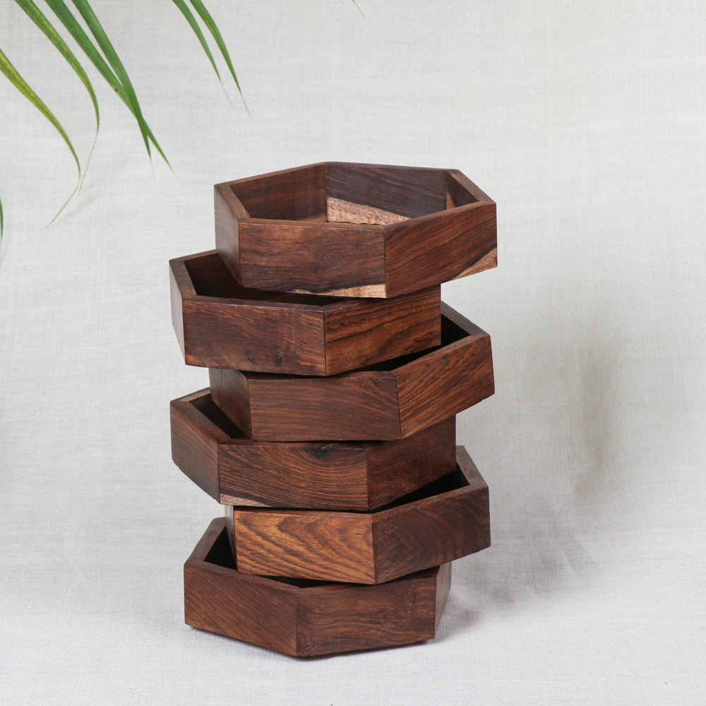 Multipurpose Boxes (Set of 6) - Handcrafted with Sheesham Wood