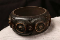 Handcarved Kema Wood Kada (Bangle Size 2/4)
