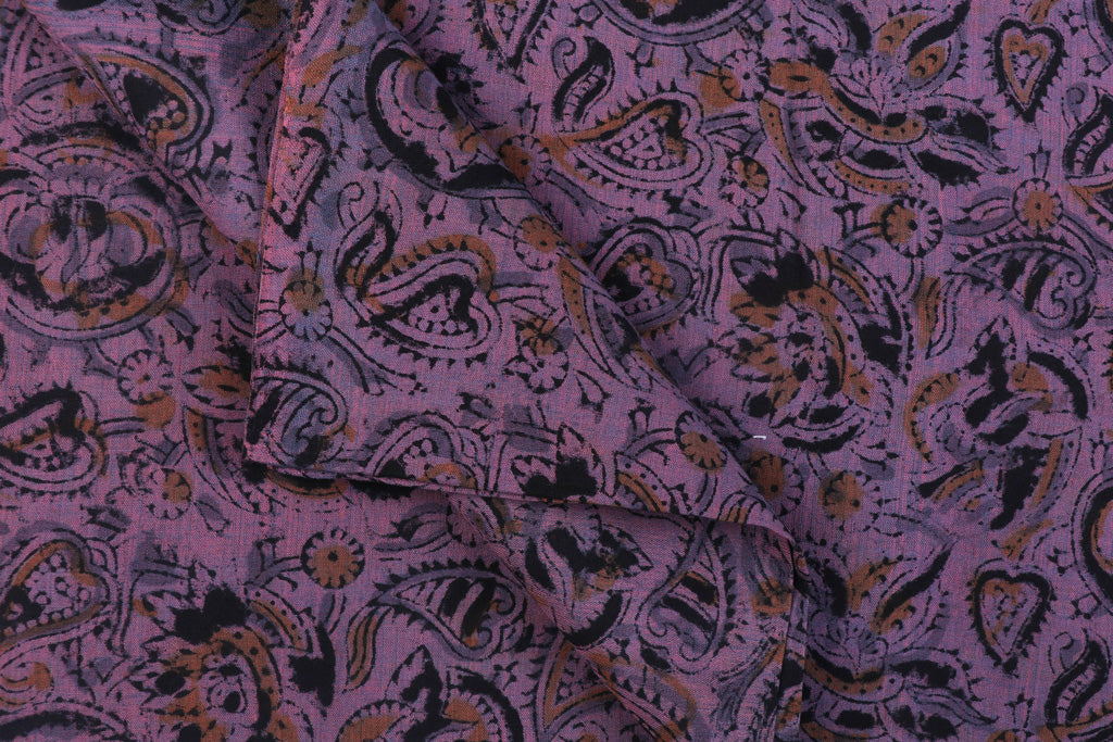 Handloom Kalamkari Print Mangalgiri Washed Cotton Fabric by DAMA