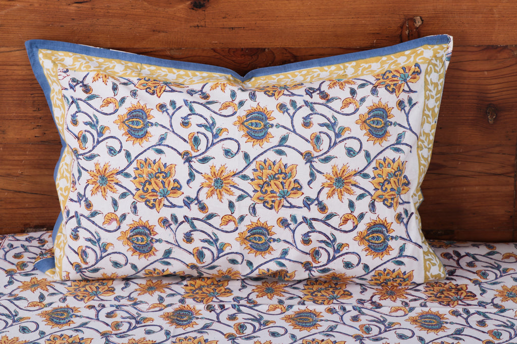 Sanganeri Hand Block Printed Cotton Double Bed Cover with Pillow Covers - 107in x 89in