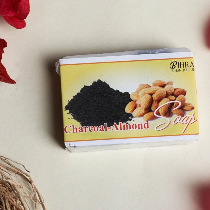 Bihra Handmade Natural Charcoal Almond Soap (100gm)