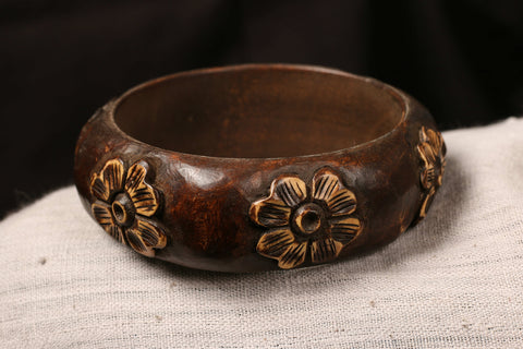 Handcarved Kema Wood Kada (Bangle Size 2/8)