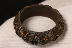 Handcarved Kema Wood Kada (Bangle Size 2/6)
