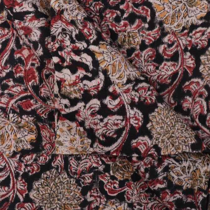 Handspun Handloom Kalamkari Print Mangalgiri Washed Cotton Fabric by DAMA