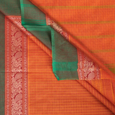 Traditional Chettinad Kandangi Pure Cotton Checks Saree from Tamil Nadu