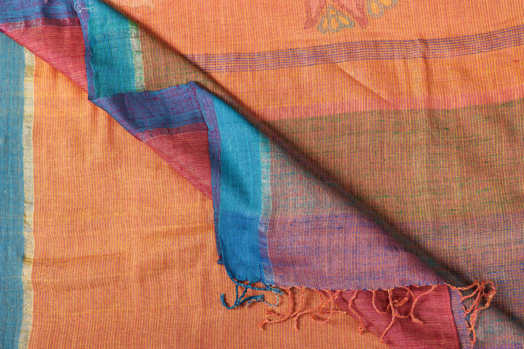 Special Jamdani Pure Handwoven Linen Saree with Tassels from Bengal