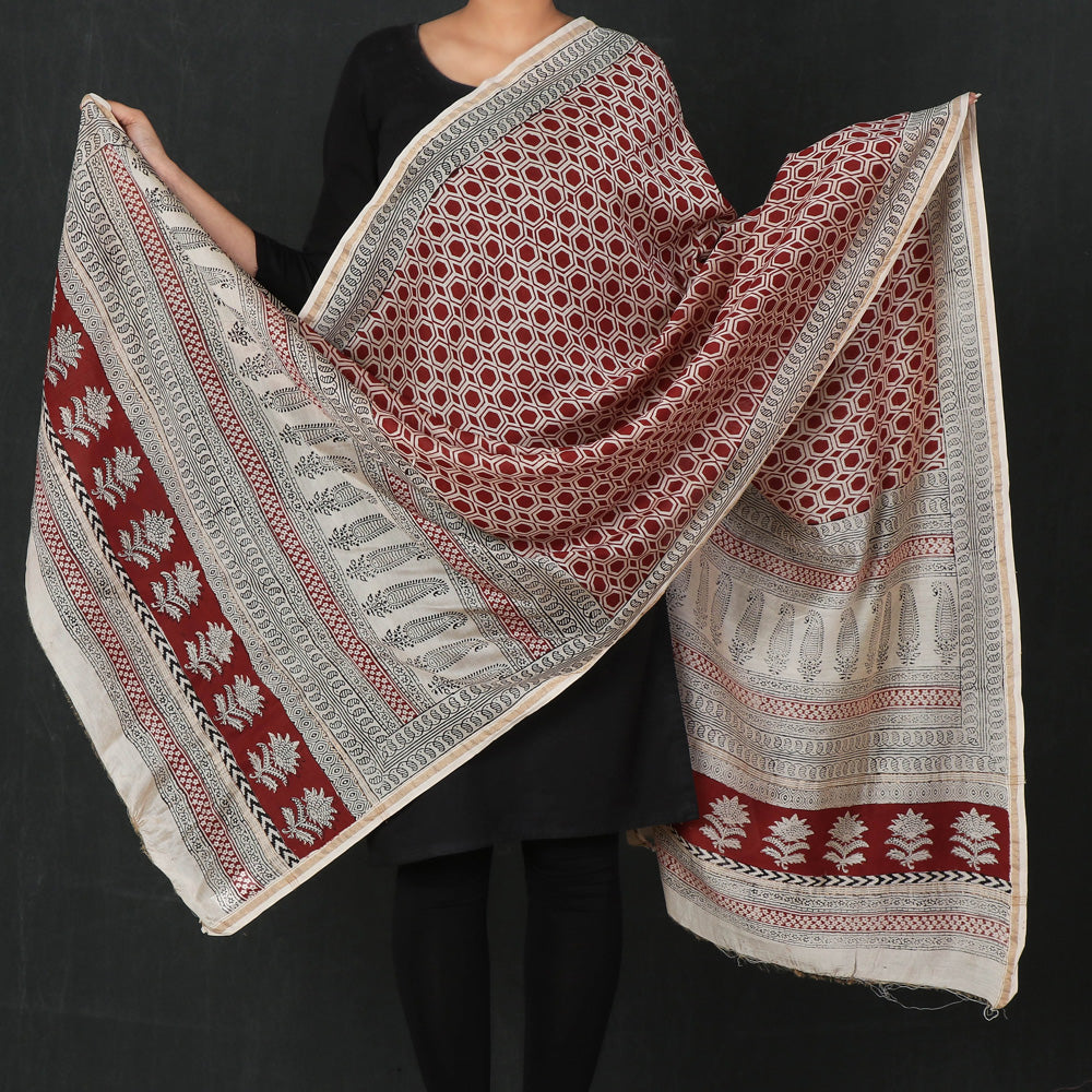 Bagh Hand Block Print Chanderi Silk Natural Dyed Dupatta