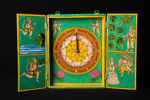 Kavad Katha Wooden Handpainted Wall Clock - (10x8 inches)