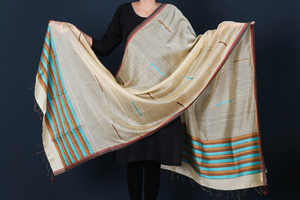 Special Jamdani Pure Handwoven Silk Cotton Dupatta with Zari Border & Tassels from Bengal