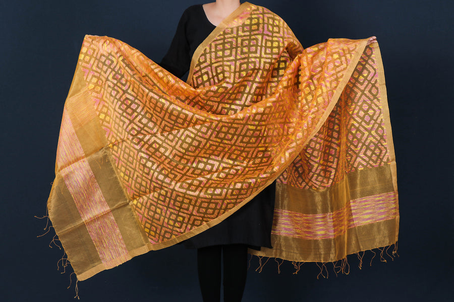 Special Jamdani Pure Handwoven Silk Net Dupatta with Zari Border & Tassels from Bengal